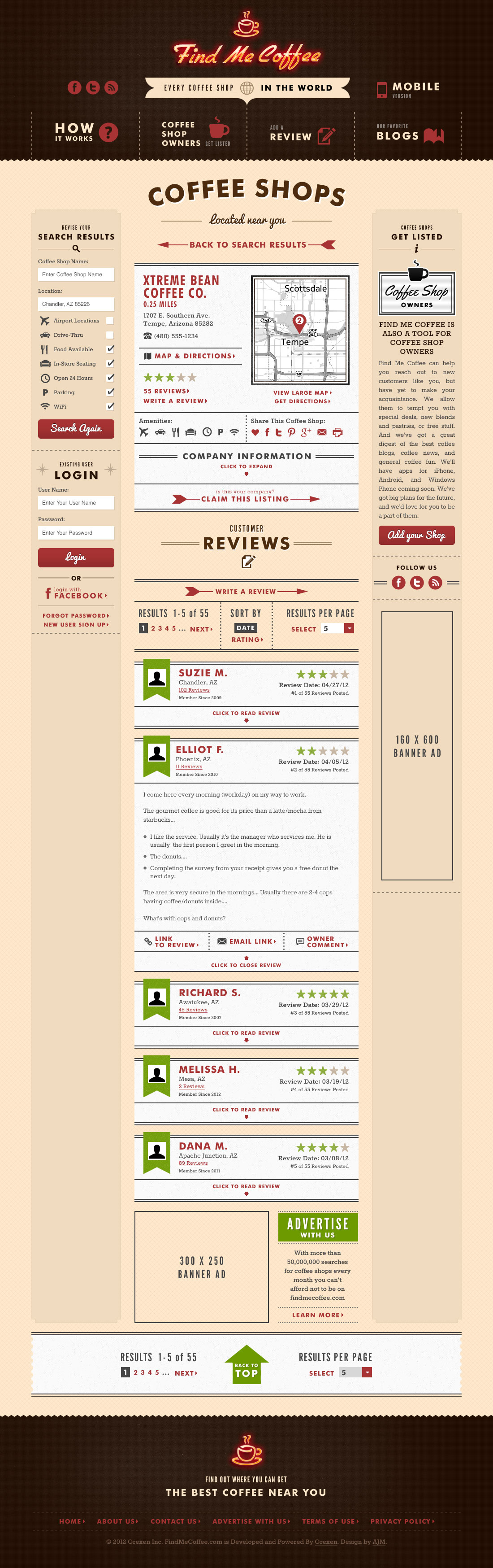 Find Me Coffee Results Page